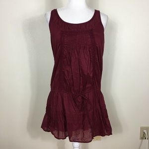 Abercrombie & Fitch Maroon Ruffle Sleeveless Dress